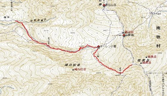 硫黄岳登山ルート(下り)